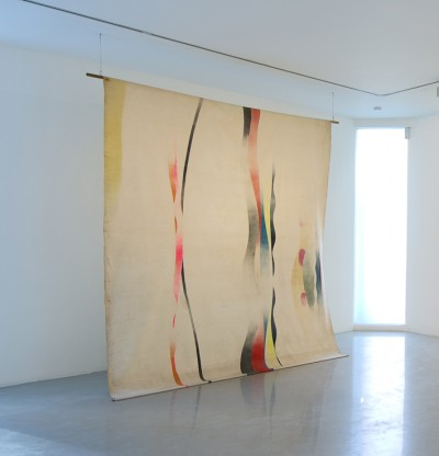 2. John Latham, Untitled (Roller Painting), 1964. Spray-paint on white duck. 274 x 366 cm