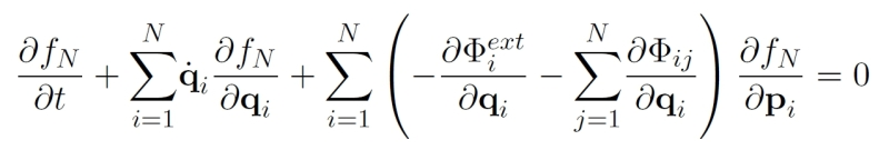 2. The Liouville equation for a probability distribution function, describing the interaction of N particles via some potential. It is  the  equation of (kinetic) plasma physics, but it has to be truncated and hacked away at before it gives anything useful away.