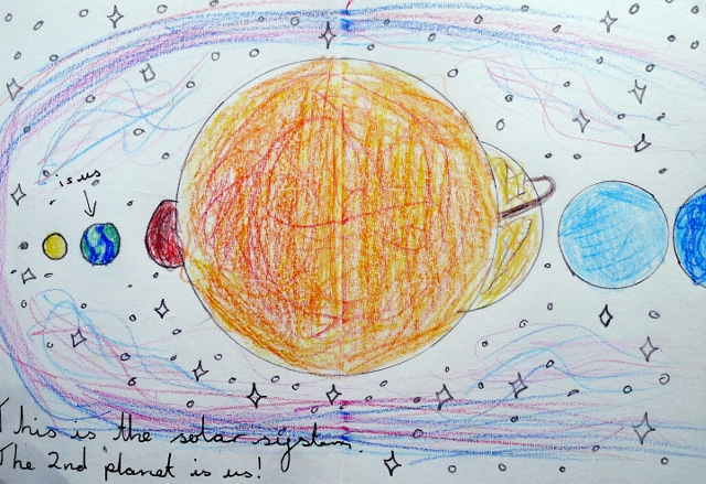4. Drawing from a book called 'The Amazing Sun and the Universe'.