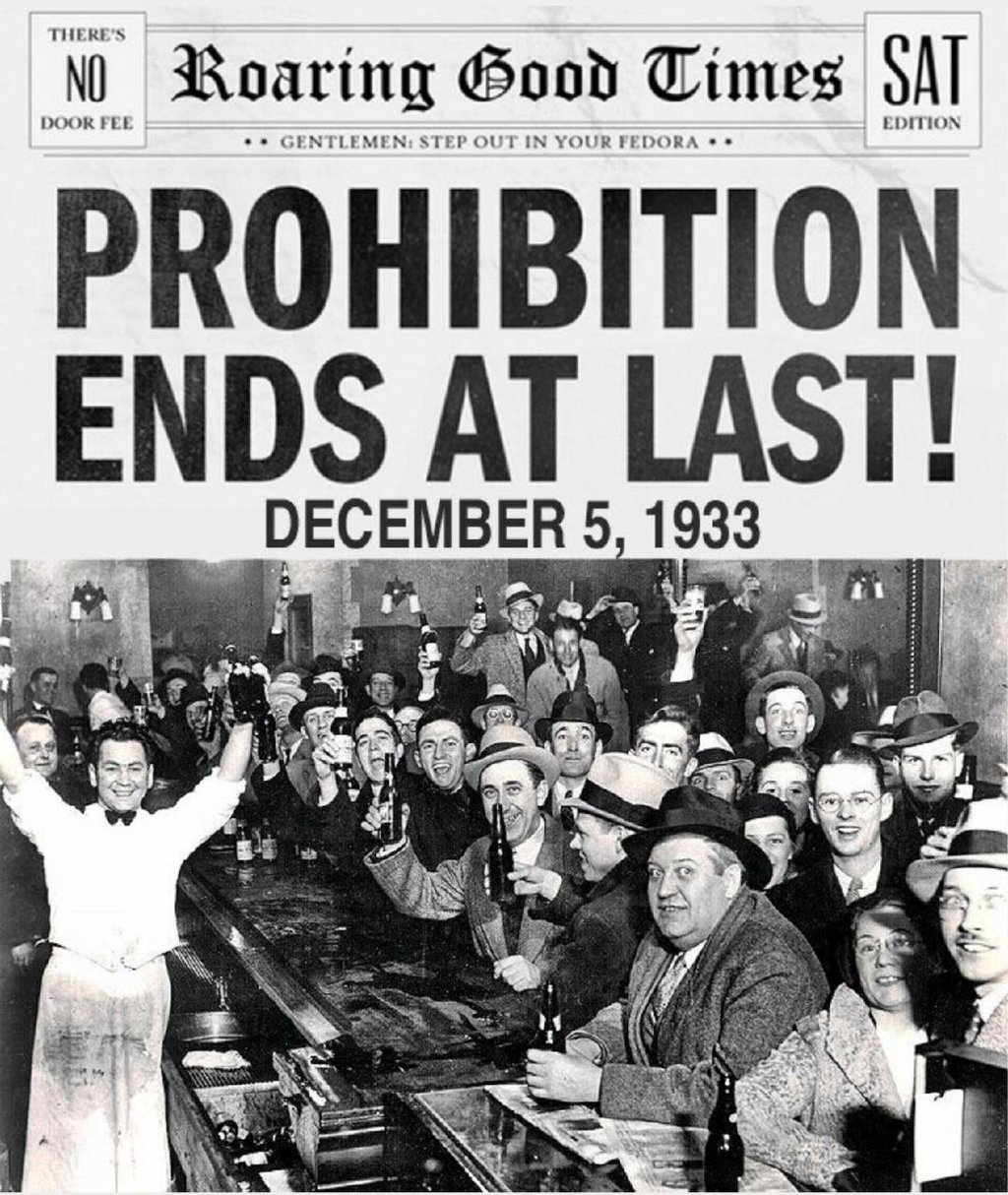 Celebrations for the repeal of Prohibition in bars and former speakeasies