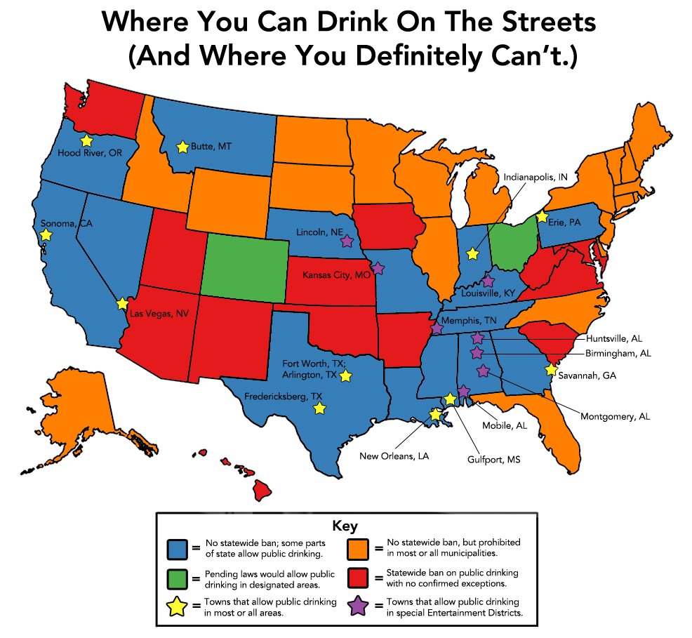 Where you can drink on the streets