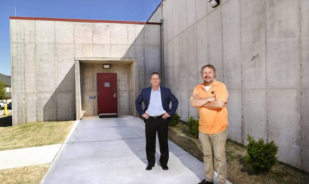 Greg Blakely, left, business development, and Kurt Kraft, president, outside the bunker. Located in the metro area, this bunker operated by MIDCON Recovery Solutions stores client servers in a secure, tornado and earthquake-proof bunker-fortified facility. The building was designed with redundancies for power, communications and HVAC. (JIM BECKEL/THEOKLAHOMAN)
