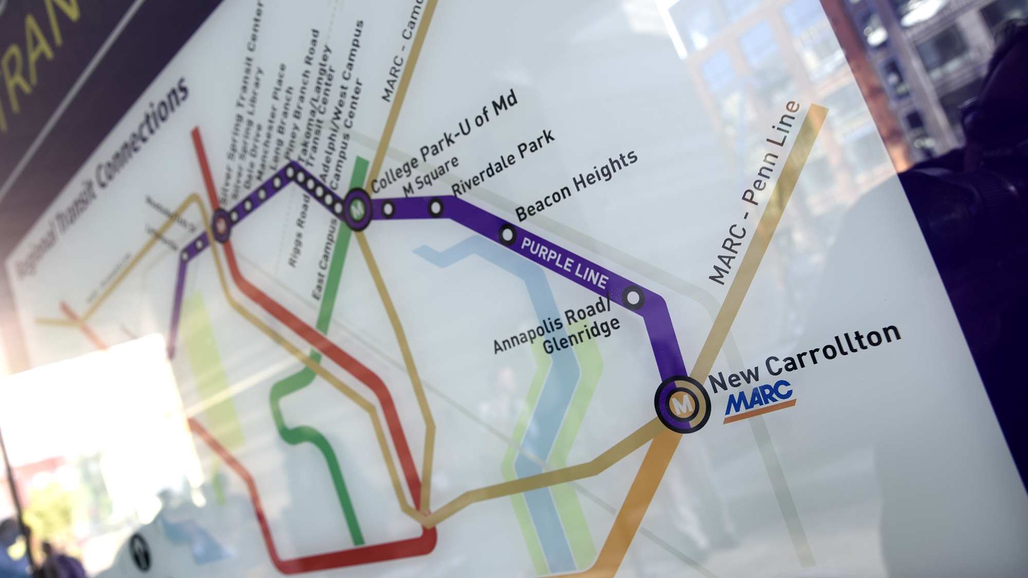 Purple Line - A $2 billion 16-mile light rail transit system with 21 passenger stations in under construction. The Purple Line will extend inside the Capital Beltway from New Carrollton in Prince George's County to Bethesda in Montgomery County. There will be 11 passenger stations in Prince George's County connecting central business districts and Metro and MARC stations.