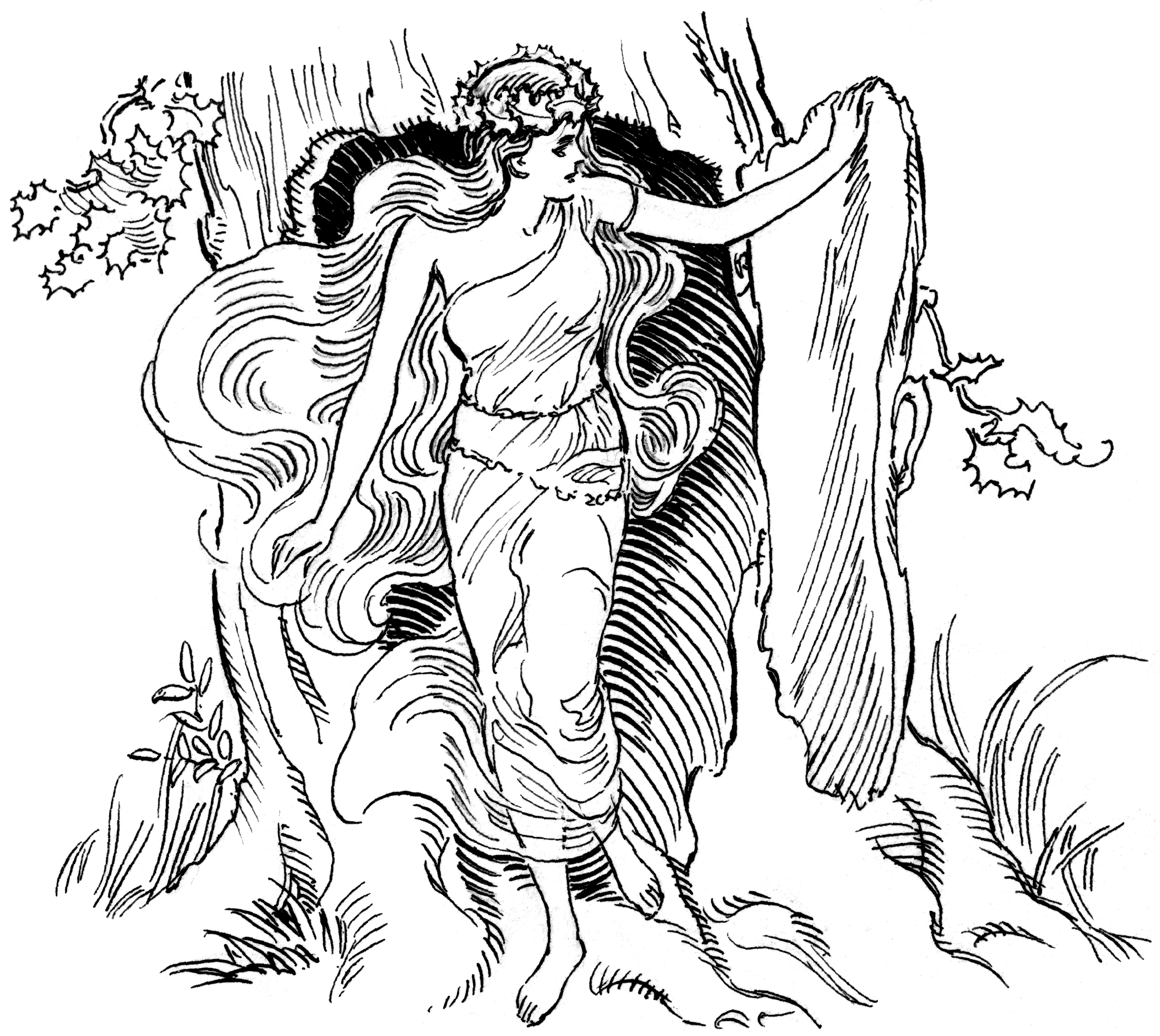 Dryad exploring outside of her tree, from Wiki Commons
