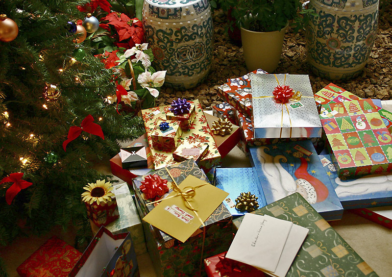 Presents under a Christmas tree from Wiki Commons