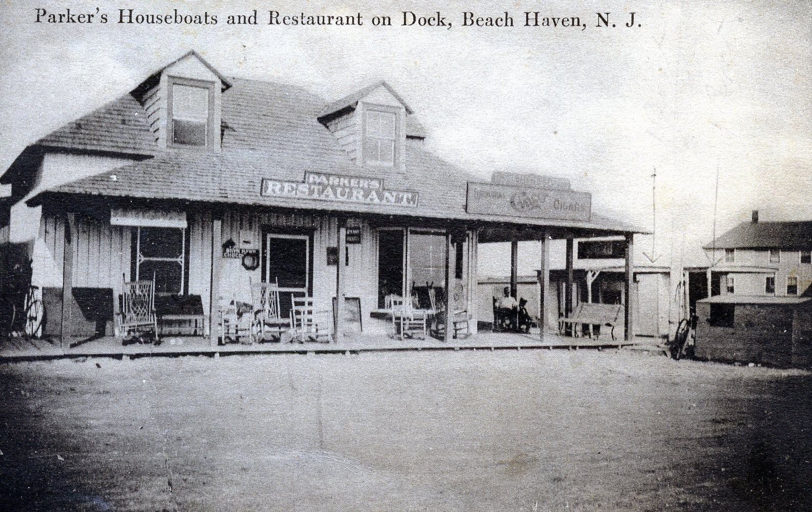 Parker's Garage is a throwback to turn-of-the-century Beach Haven and Ellis Parker's restaurant/engine repair shop on the bay. Photo courtesy of New Jersey Maritime Museum.