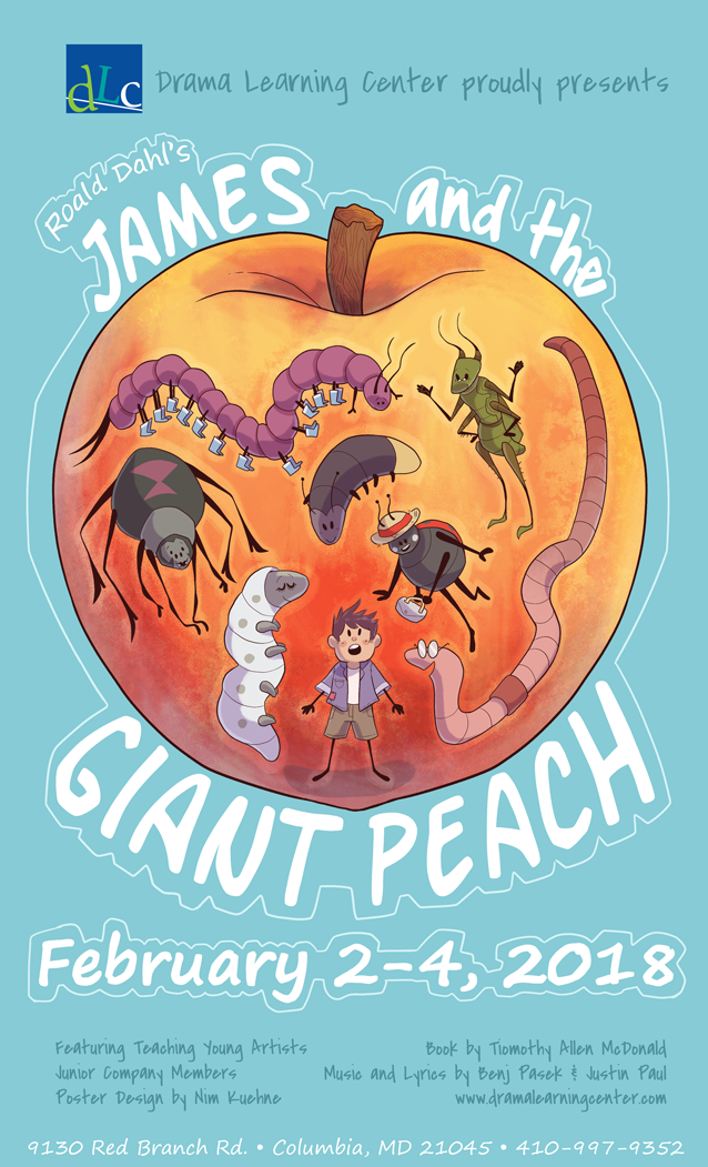 Mock poster design for a production of Roald Dahl's  James and the Giant Peach,  2018.