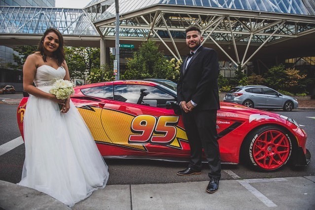When you're taking your wedding photos and Lightning McQueen pulls up... Congratulations to the beautiful couple. 📸 @henry_m_ward