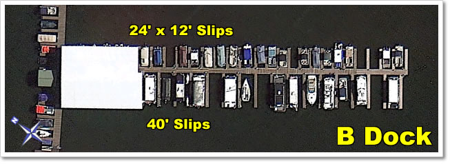 B Dock  has 40' slips (some covered) on one side of the dock, and 24' x 12' slips (some covered) on the other side.