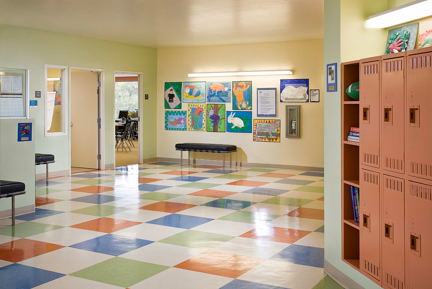Interior of a private school in Playa Vista. Daylight interior with supplemental strobe lighting. Photographed for Pacific Dimension Interiors.