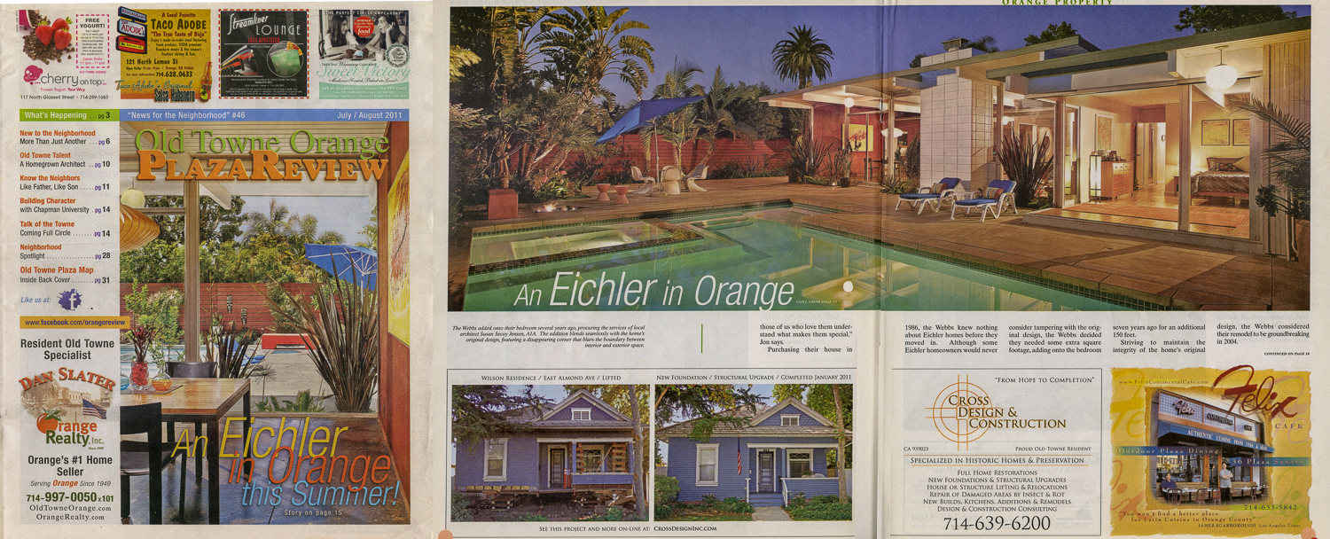 Tearsheet from Old Town Orange Plaza Review. Image was part of feature article with 8 total images I created to highlight the architecture of this Eichler designed house in Orange, CA.