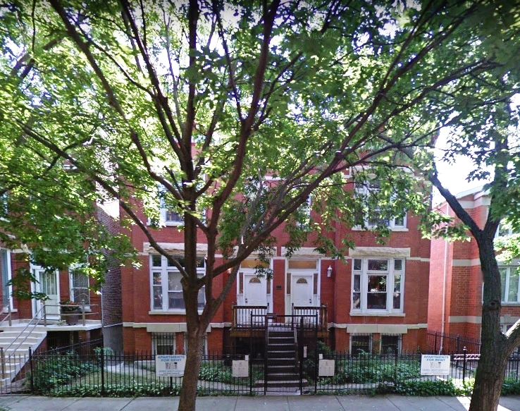 Classic three-flat building 2 blocks from the IL Med. District. Back yard filled with grass; each unit has access to small private back porch. One parking space included with each apartment. Laundry facilities are located in the building.