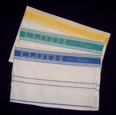 Glass cloths   100% cotton, available in blue.