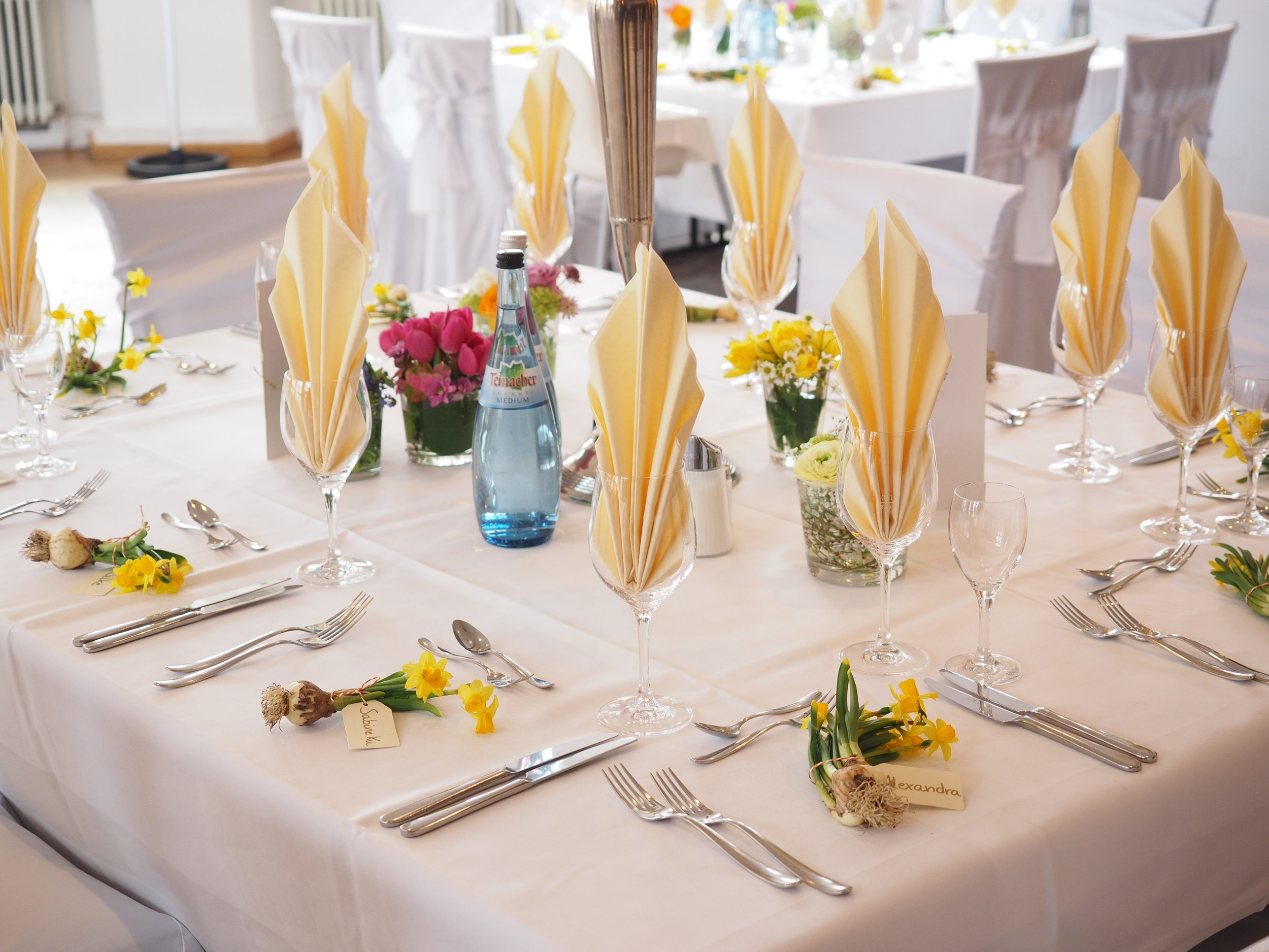 Catering to your function   We can custom-make tablecloths and napkins to your specific measurements in any of the above fabrics.