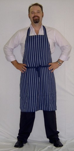 Chef aprons   Vertical stripes.  Available in navy and white, or black and white.