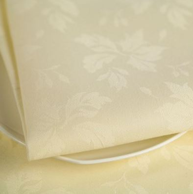 Feather Leaf Caress    - White or ivory   Feather Leaf Caress is the perfect choice for easy-care, easy-iron 100% MJS polyester for special occasions.