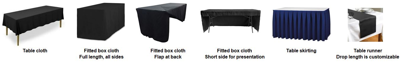 Table cloth options available as above.