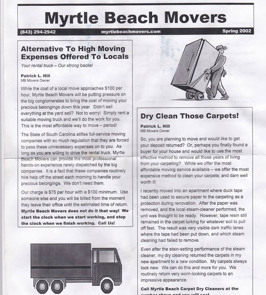 Myrtle Beach Movers® mail flyer dated Spring 2002.