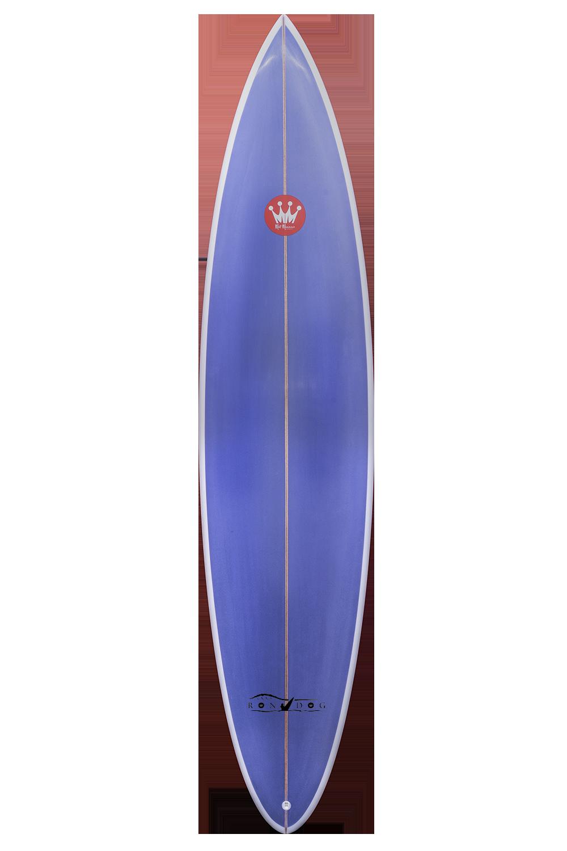 "Shape : Rondog   Length:  7'6""   Width:  19 7/8""   Thickness:  2 3/4""   Volume:  38L   Fins:  Thruster FCS II   Tail Shape:  Pin"