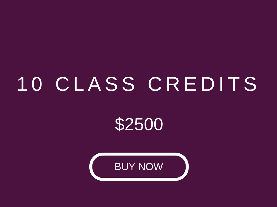 1 credit ($250) for all classes. Valid only at our Central Studio, for 8 weeks from purchase date. Subject to 3% payment fee for online payments.