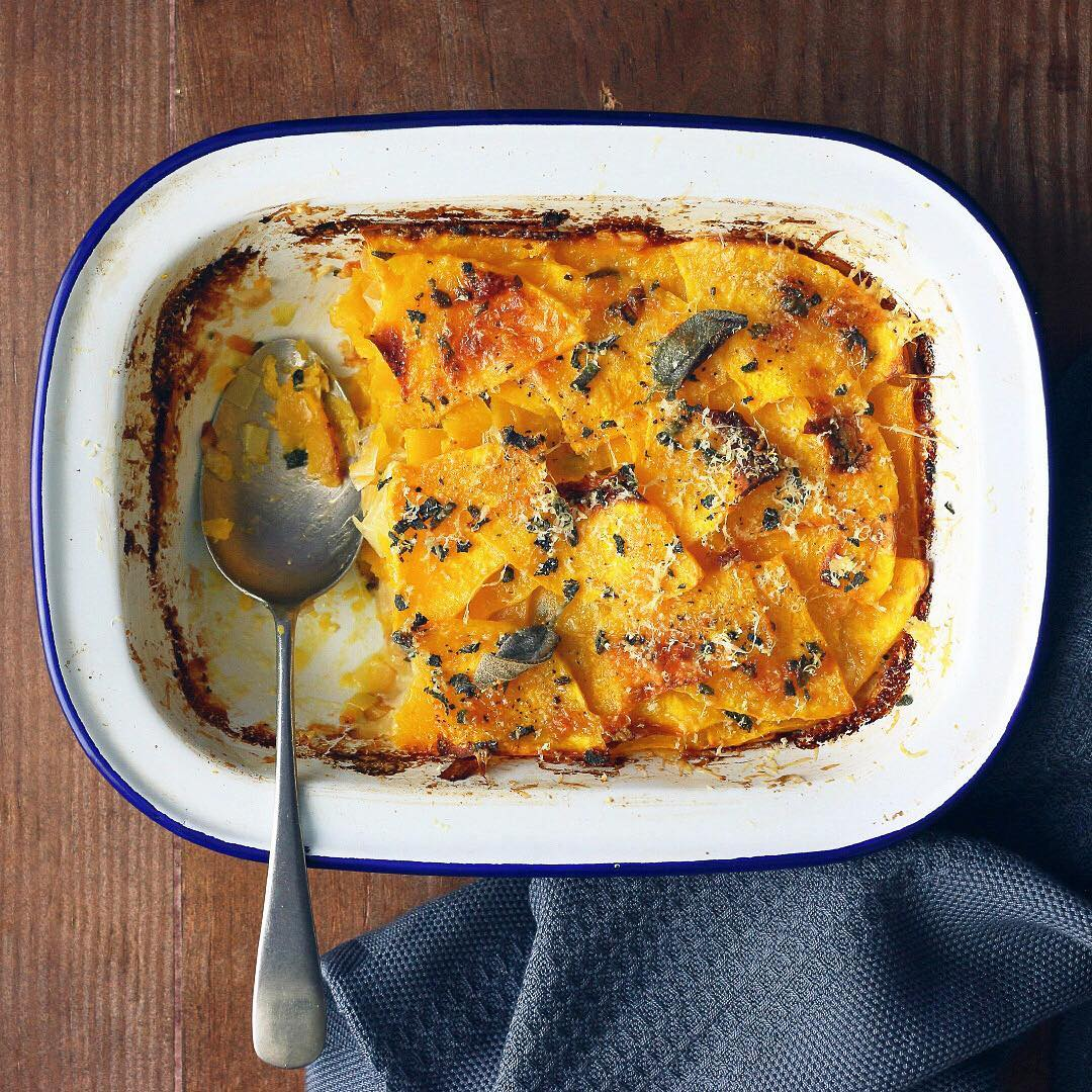 BUTTERNUT AND LEEK GRATIN