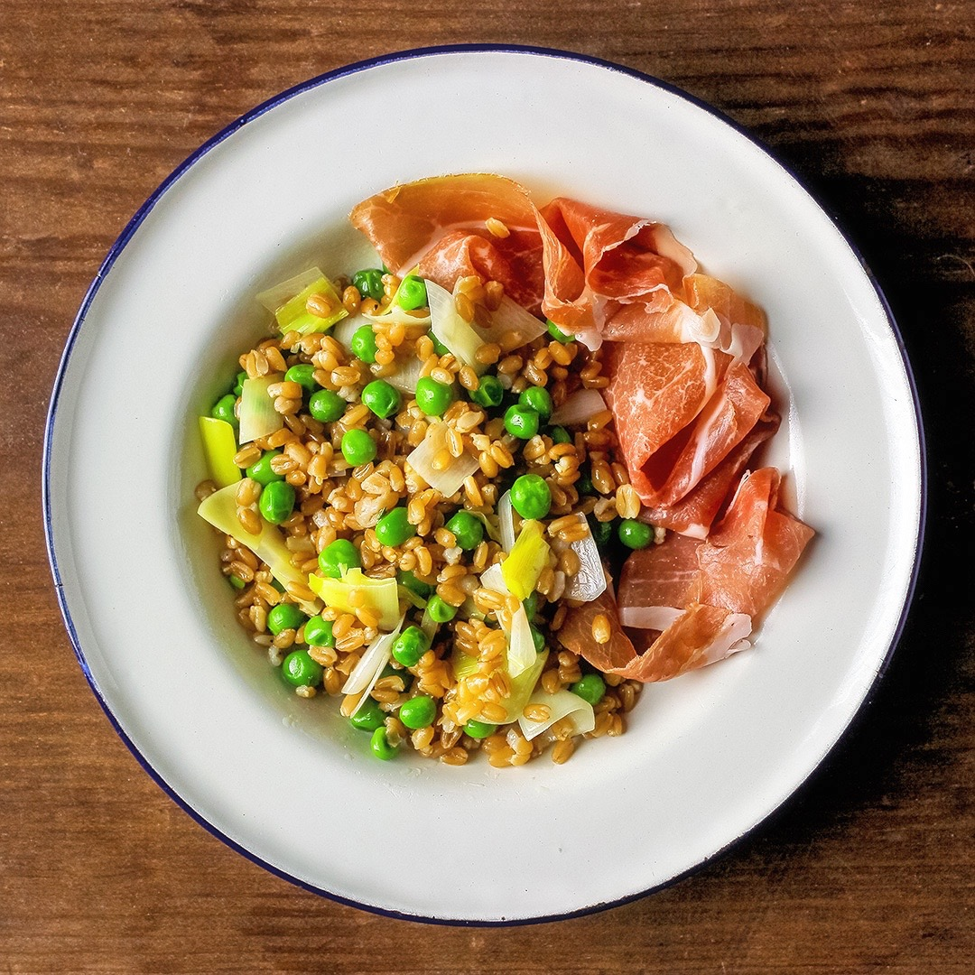 FARRO SALAD WITH LEEKS AND PEAS