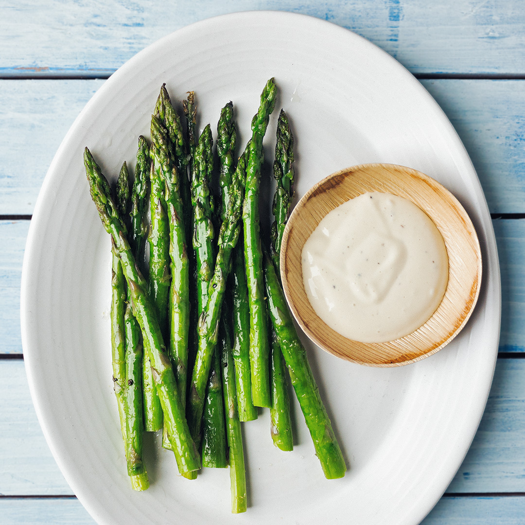ROASTED ASPARAGUS AND CAESAR SAUCE