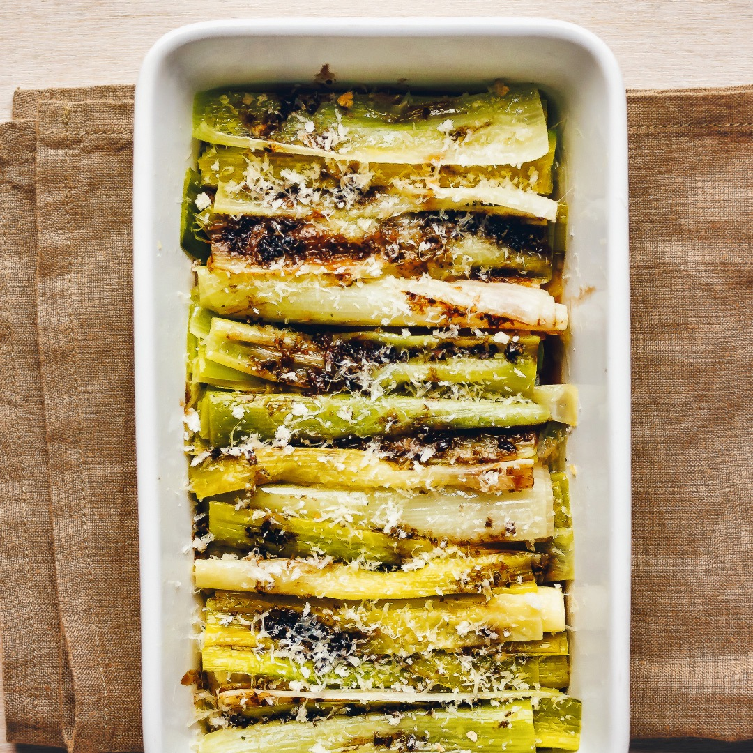 LEEKS, BALSAMIC, PARMESAN AND CRUMBS