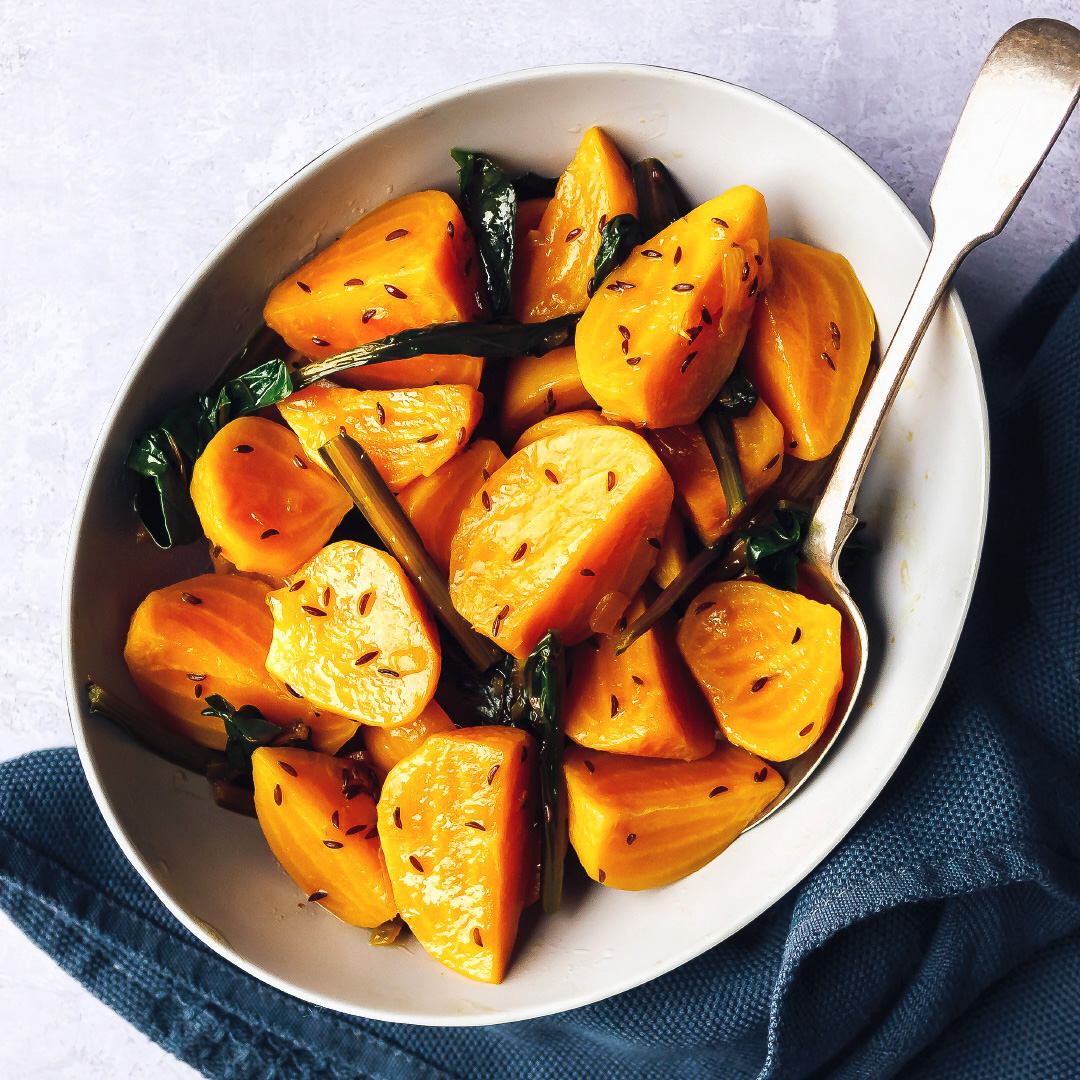 Glazed golden beets