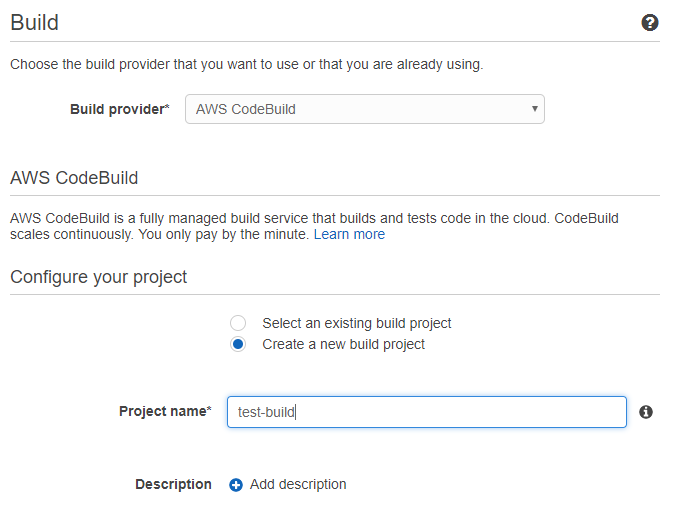 CodePipeline creation step 3 - section 1
