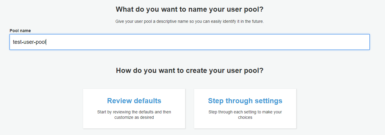 User Pool Creation - Type name