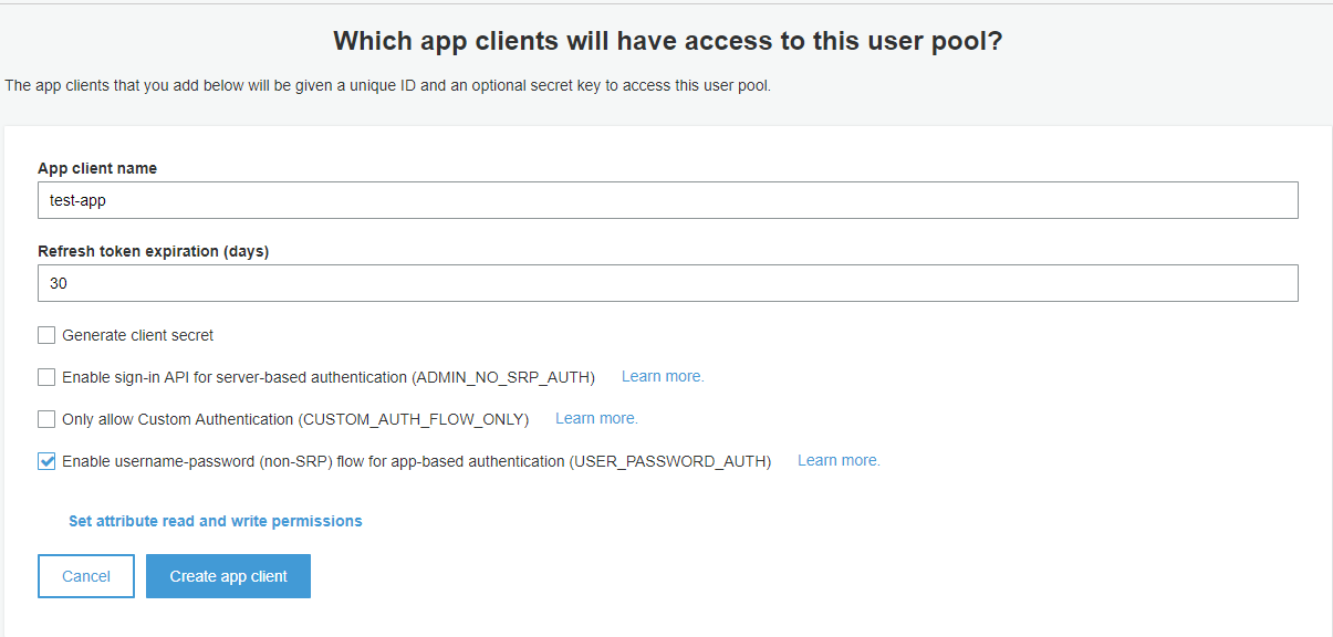 User Pool Creation - App Client