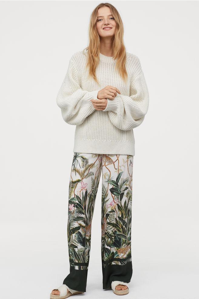 H&M White Leaf Wide Leg Pants (10)- $34.99