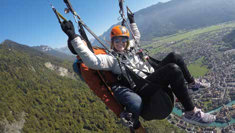 Junior, Angela Lindow, got a bird's-eye view of Interlochen, Switzerland, when she went paragliding. Don't worry mom and dad, studying and learning took place too!