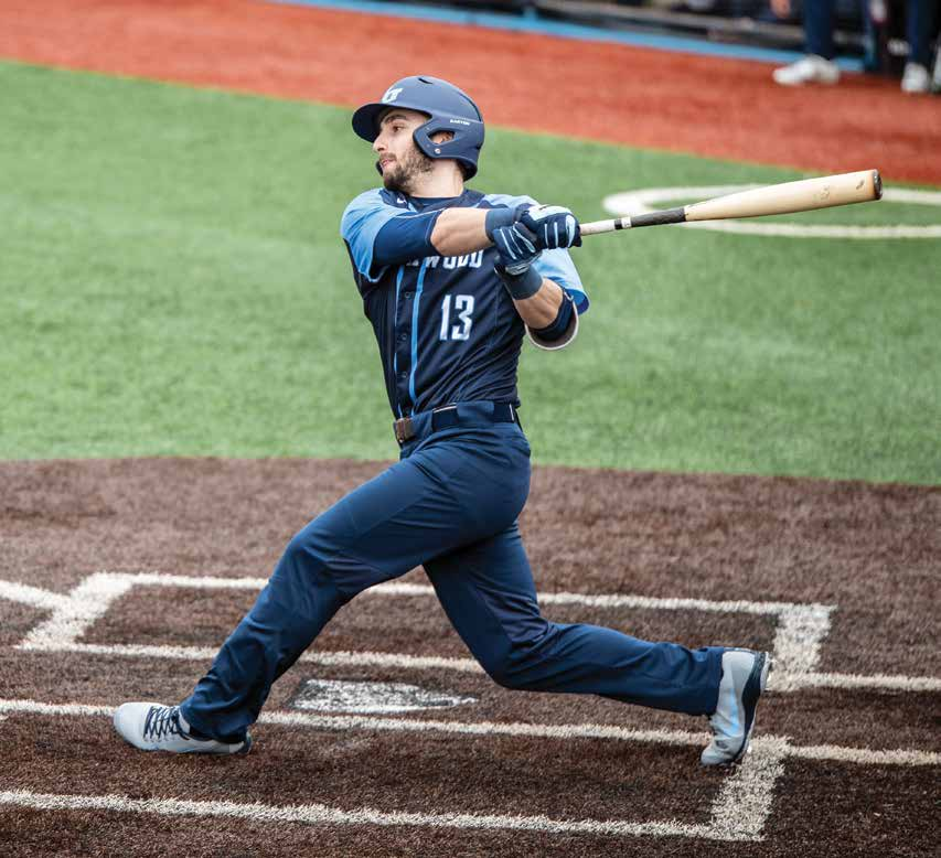 David Vinsky drives a ball to left field during a 2019 game for Northwood University. In June, Vinsky was drafted by the St. Louis Cardinals, launching what he hopes will be a long career as a professional baseball player.