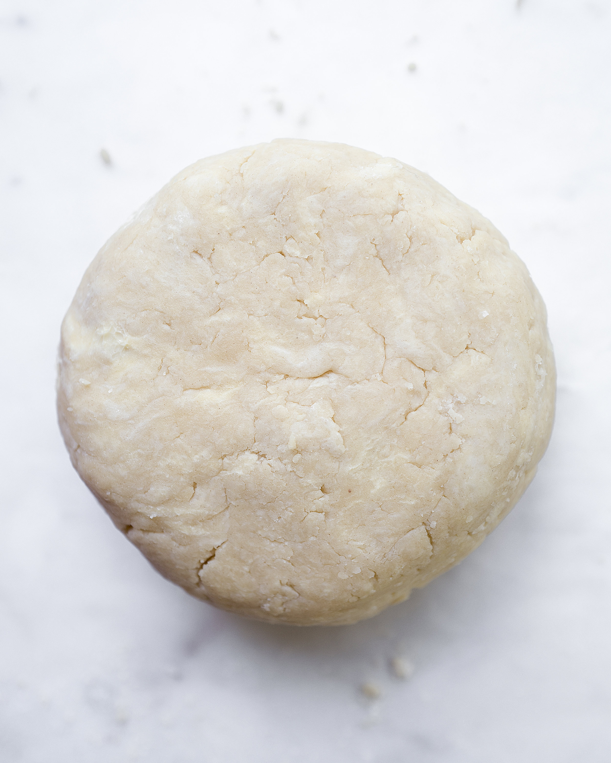 6. Fully hydrated dough, halved and formed into a disk