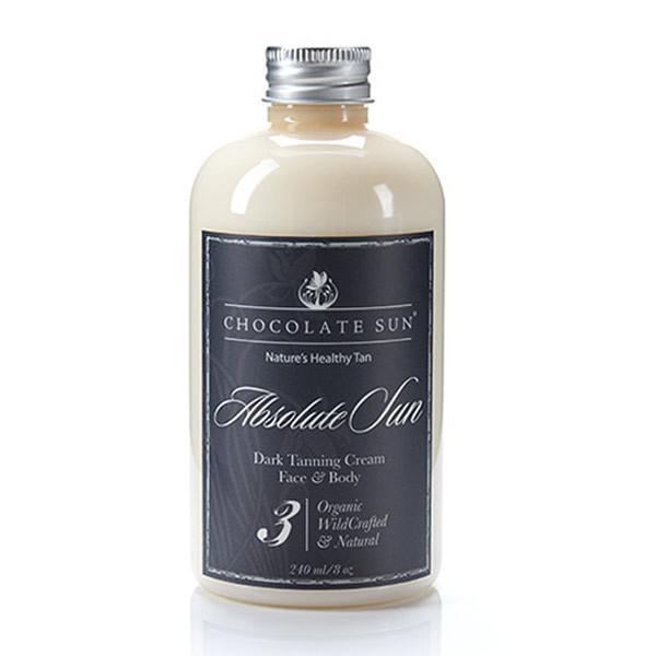 "Chocolate Sun Tanning Cream — I use ""Absolute Sun"" level 3 for dark skin tones available on   Amazon"