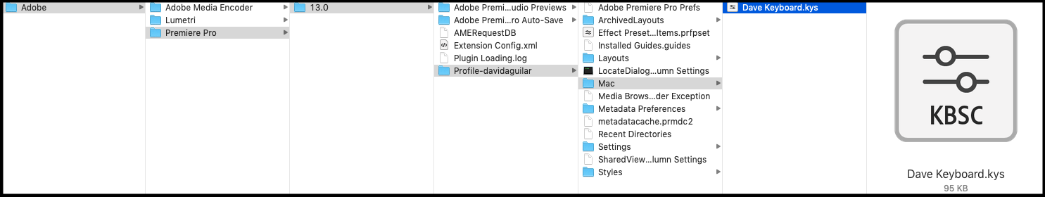 Documents > Adobe > Premiere Pro > 13.0 > Profile > Mac