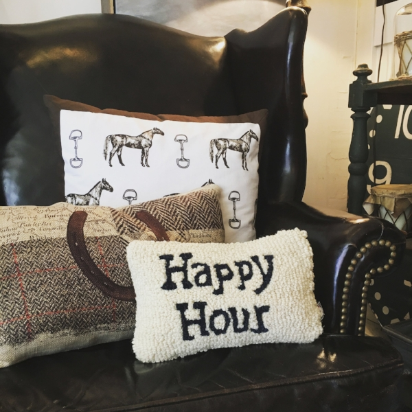 "This little ""Happy Hour"" pillow makes such a cute hostess gift! At only $25, how can you resist?"