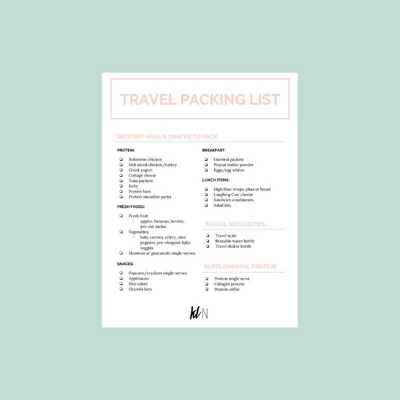 tips for tracking macros while traveling packing list