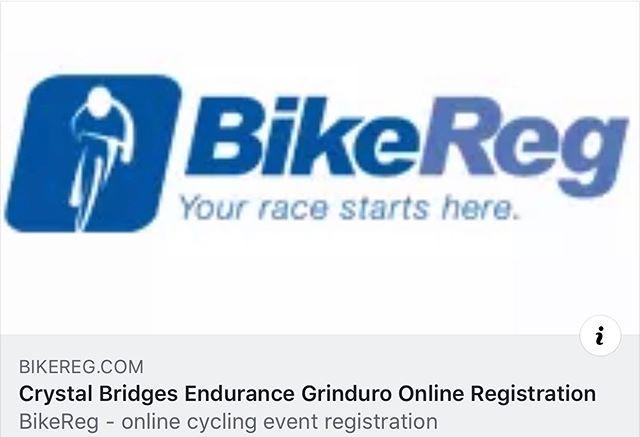 Registration closes at 9 pm tonight.  You still have 2.5 hrs. 🏃🏼♂️🏃🏼♂️🏃🏼♂️🏃🏼♂️ & 🧾🧾🧾🧾☑️☑️ https://www.bikereg.com/crystal-bridges-endurance-gravel-grinder