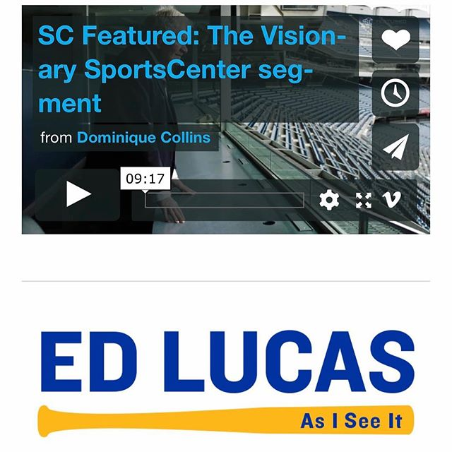 "Watch ""SC Featured: The Visionary SportsCenter segment"" on Vimeo: ‪ https://vimeo.com/262913500?ref=em-share‬  ESPN's feature story about Ed Lucas, the Emmy Award winning blind broadcast journalist. ESPN aired segment on Easter Sunday, April 1, 2018.  Check out other videos about Ed Lucas on his website: https://www.theedlucasfoundation.org  #edlucasfoundation #501c3 #blind  #visualimpairment  #blindbroadcaster #broadcaster #espn #sportscenter #baseball #peoplewithdisabilities #accessibility #charitable #blindness #hope"