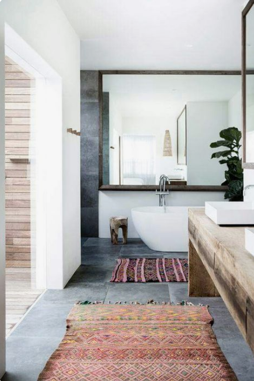 boho bathroom runner
