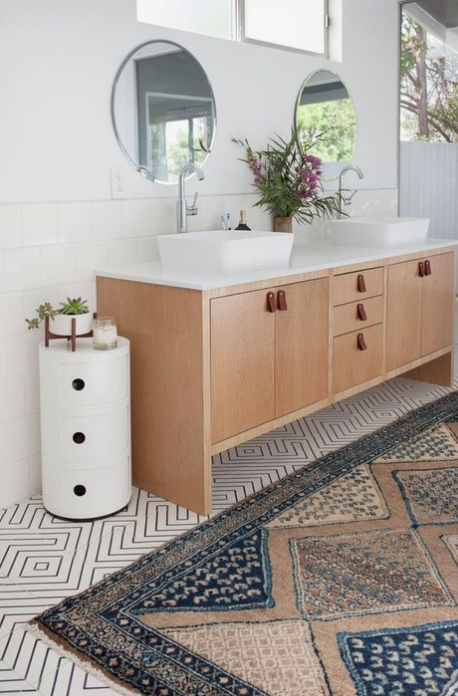 veneer designs, boho bathroom rug