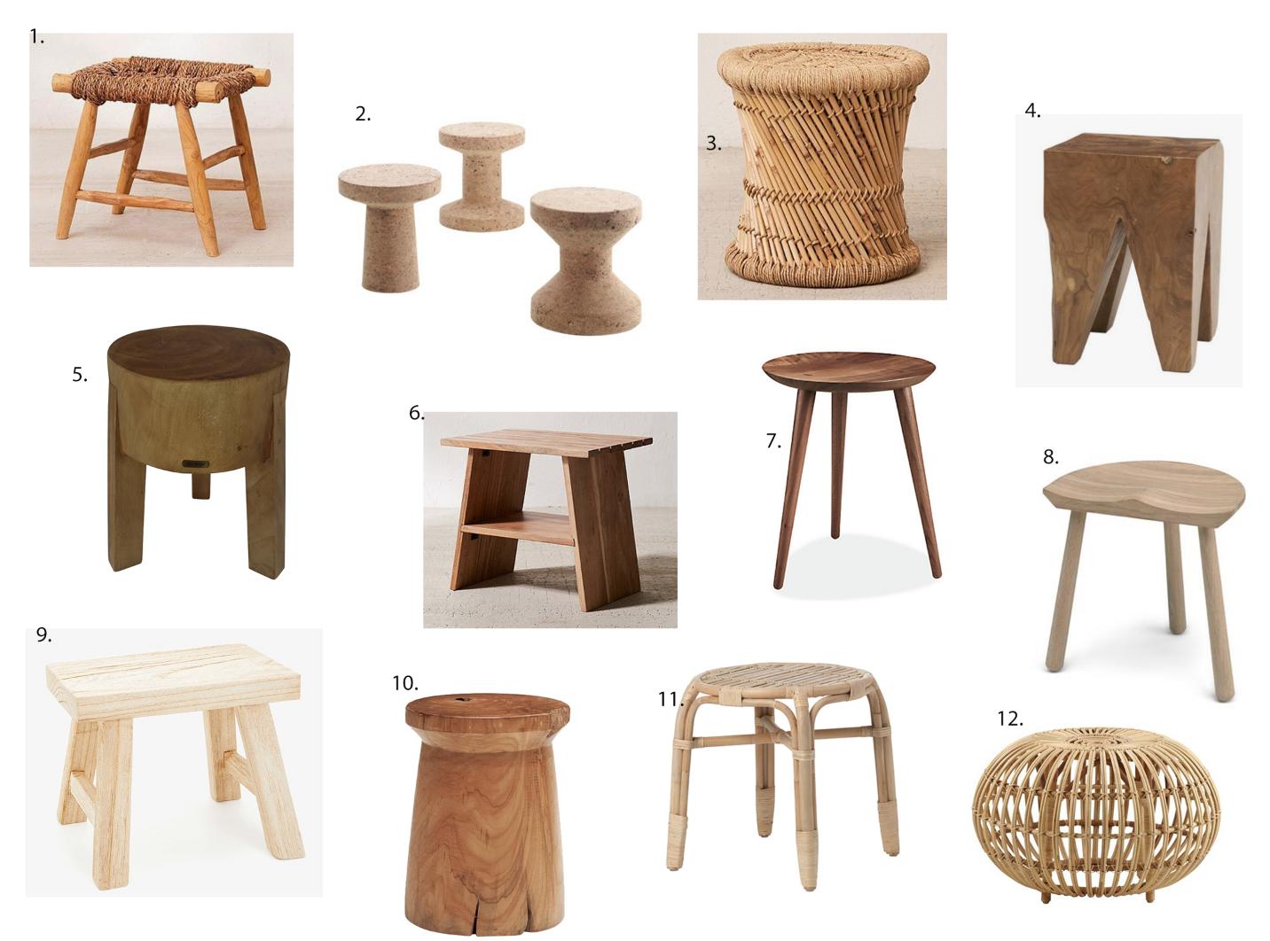 The Modhemian, modern bohemian bathroom stools