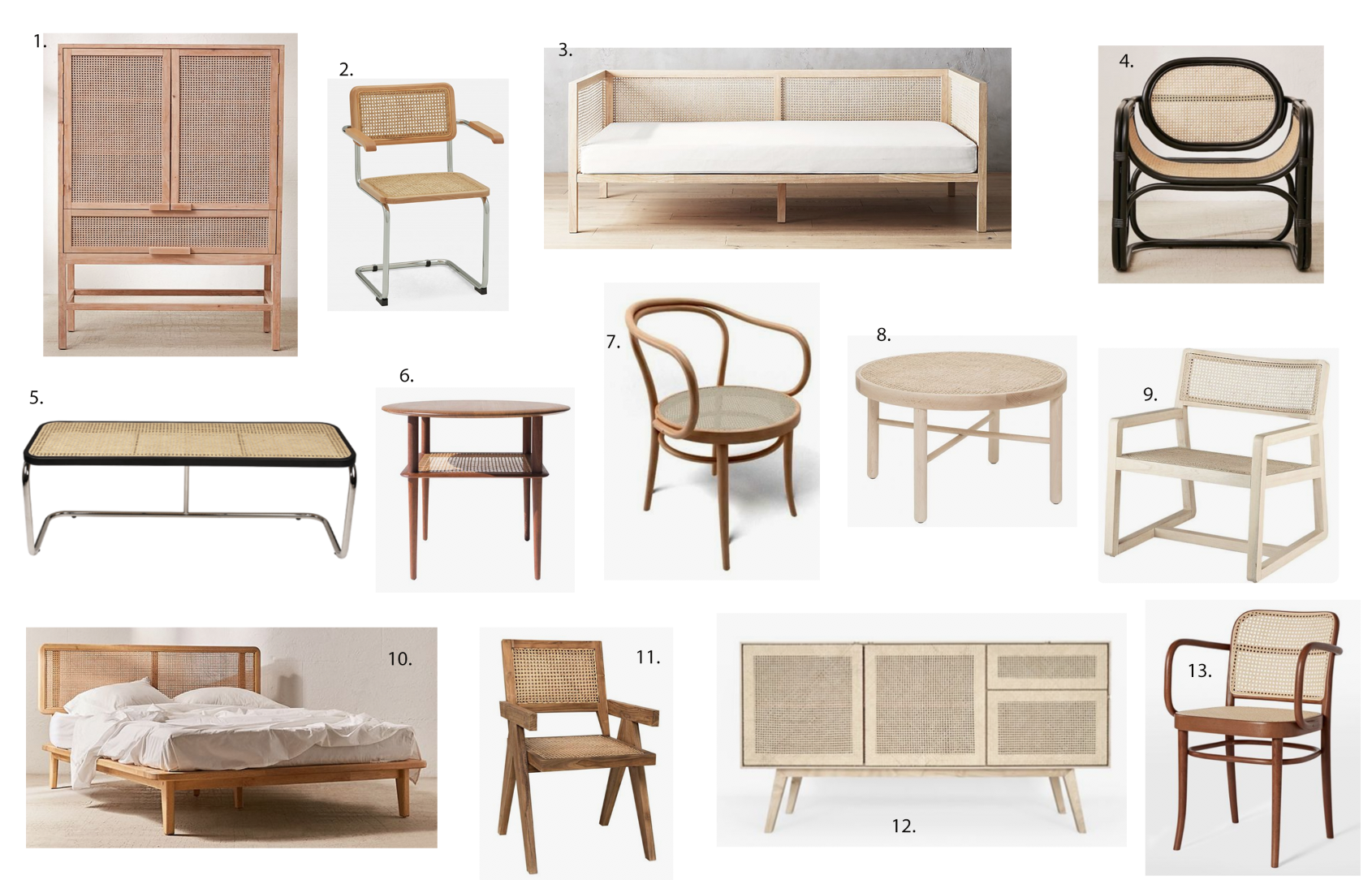 the Modhemian Cane Furniture Round Up