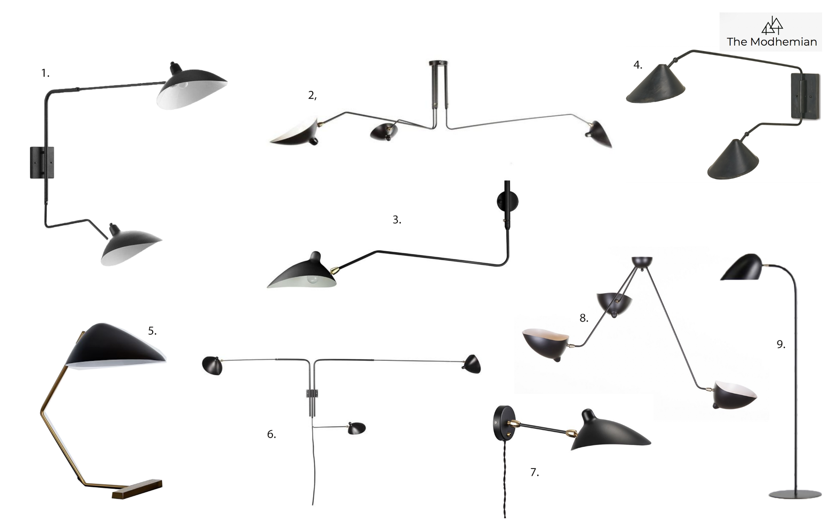 the modhemian, serge mouille inspired lighting for less