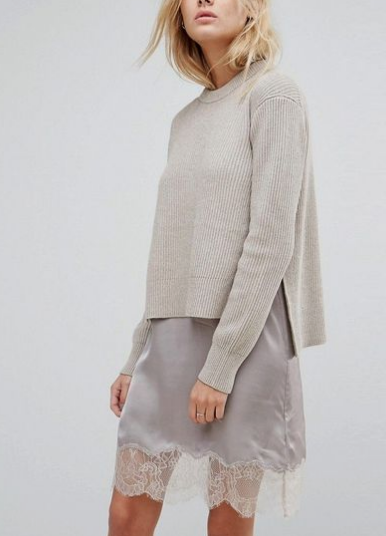 sweater with slip dress, fall styling slip dress