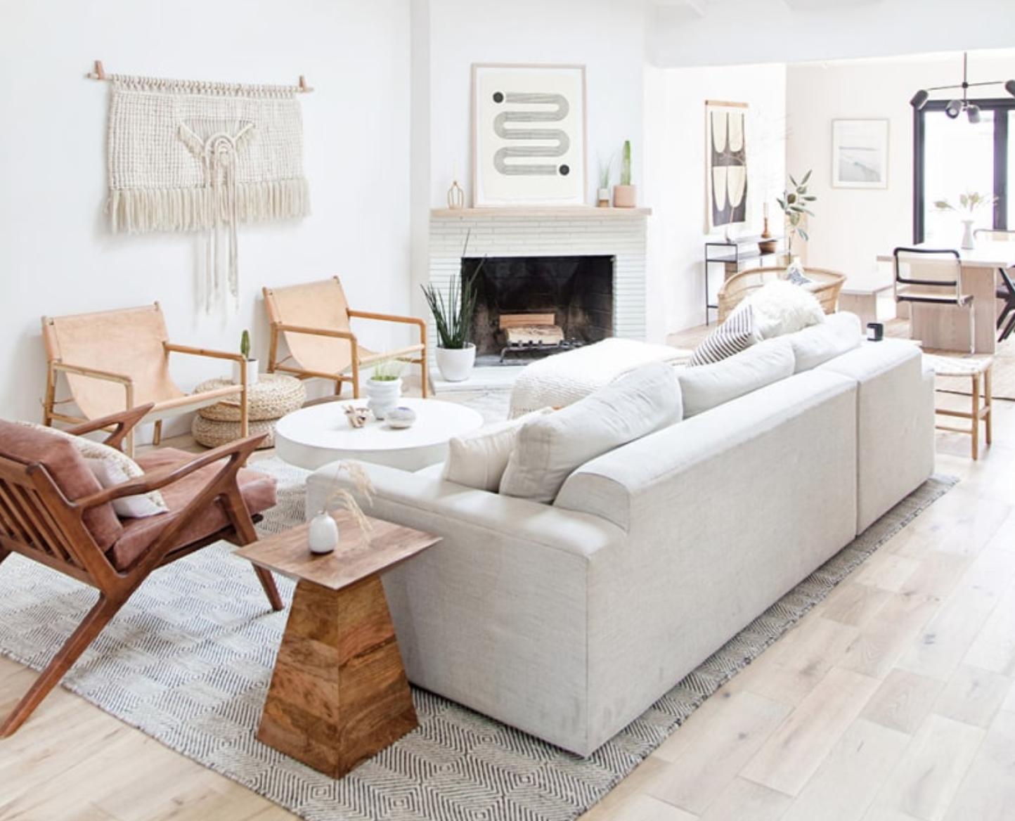 amanda dawbarn living room, Neutral Bohemian Styling, warm minimalism