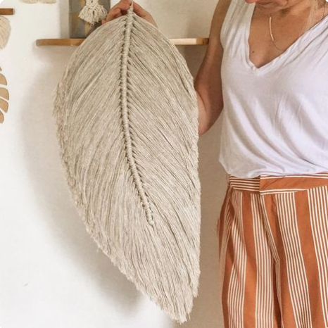 macrame feather decor, minimal neutral interior styling